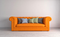 Interior with orange sofa. 3d illustration Royalty Free Stock Photography