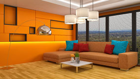 Interior with orange sofa. 3d illustration Stock Photos
