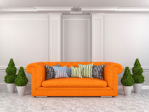Interior with orange sofa. 3d illustration Royalty Free Stock Image