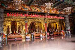Interior of an ornate Asian temple Royalty Free Stock Images