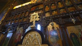 Interior of the Orthodox church.  stock footage