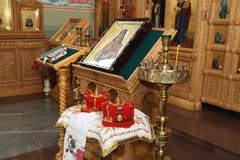 Interior of orthodox church Stock Photography