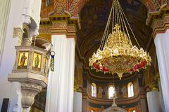Interior of Orthodox church in Greece Royalty Free Stock Photography