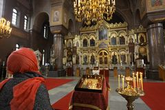Interior of the Orthodox church in Russia. Stock Photos
