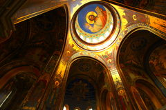 Interior of an Orthodox church, view of the dome Royalty Free Stock Photos