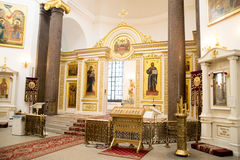 Interior in orthodox Russian church. Religion Royalty Free Stock Images