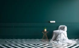 Interior oscuro minimalista de lujo de la sala de estar con la piel en silla, la flor en la tabla y el piso del mármol Fotografía de archivo libre de regalías