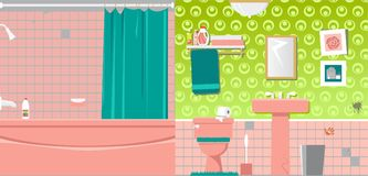 Ugly old bathroom. Interior of an outdated bathroom before renovation, EPS 8 vector illustration Stock Image