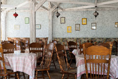 The interior of outdoor cafe under a canopy Stock Photo