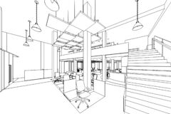 Free Interior Outline Sketch Drawing Perspective Of A Space Office Royalty Free Stock Images - 184288989