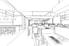 Free Interior Outline Sketch Drawing Perspective Of A Space Office Stock Image - 184289011