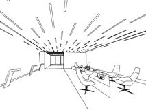 Interior outline sketch drawing perspective office. Interior outline sketch drawing perspective of a space office Stock Image