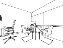 Interior outline sketch drawing perspective of a space office Stock Photo