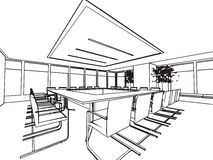 Interior outline sketch drawing perspective of a space office Stock Images