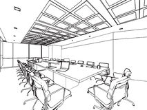Interior outline sketch drawing perspective of a space office. Interior outline sketch drawing perspective of space office Royalty Free Stock Photos