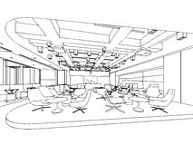 Interior outline sketch drawing perspective Stock Photo