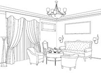 Interior outline sketch. Furniture. Architectural design Stock Photos