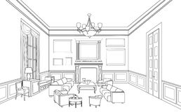 Interior outline sketch. Furniture blueprint. Royalty Free Stock Photos