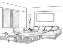 Interior outline sketch. Furniture blueprint Royalty Free Stock Images