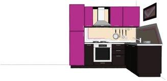 Interior púrpura y marrón de la cocina sobre el fondo largo blanco Imágenes de archivo libres de regalías