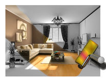 The interior painting Stock Illustration