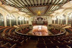 Interior of Palace of Catalan Music in Barcelona Stock Photo