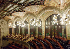 Interior of Palace of Catalan Music in Barcelona Stock Photos