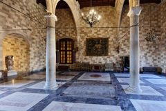 Interior of the Palace of the Grand Master of the Knights of Rhodes. Rhodes, Greece - October 9, 2017: Interior of the Palace of the Grand Master of the Knights Stock Images