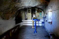 Interior Panagia Makrini `Distant Virgin Mary` church, hidden in a cave of Kerkis mountain, Samos island, Greece Royalty Free Stock Photo