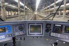 Interior panel of a high-speed train machine A.V.E. royalty free stock photography