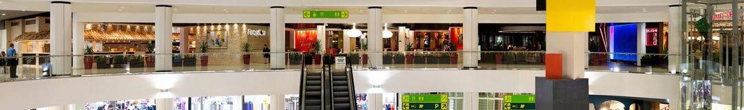 Interior panorama of the shopping center Stock Photos