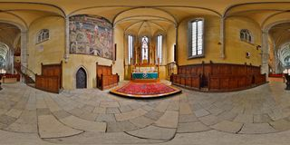360 Interior Panorama of the Lutheran Cathedral of Saint Mary Chancel, Sibiu, Romania stock images