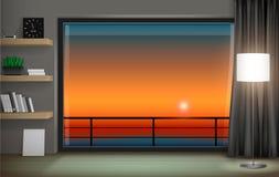 Interior with panoramic window. Modern interior with panoramic window and sunset view stock illustration