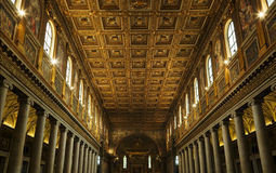 Interior of Papal Basilica of Saint Paul royalty free stock images