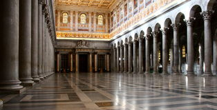 Interior of Papal Cathedral of Saint Paul outside the wall, Rome Stock Images