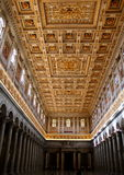 Interior of Papal Cathedral of Saint Paul outside the wall, Rome. Interior of Saint Paul ( Basilica San Paolo Fuori le  mura Stock Photo