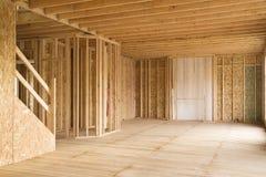 Interior parcialmente construido de la casa Fotos de archivo
