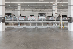 interior of parking garage with car Stock Image