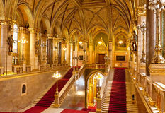 Interior Parliament Budapest. Red Carpet, corridor, interior and staircases in the central hall inside the historical parliament of Budapest, Hungary Royalty Free Stock Images