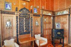 Interior of parlor in Vorontsov Palace in Crimea. ALUPKA, RUSSIA - SEPTEMBER 28, 2014: interior of Chinese cabinet (small living room) in Vorontsov Palace in stock image