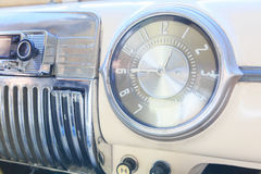 Interior part, dashboard of an old Soviet classic car Pobeda. Stock Photo