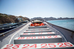 Interior of passagers boat with seat numbers Royalty Free Stock Images