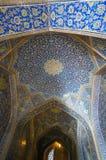 Interior and passageway of Sheikh Lotfollah Mosque , Isfahan, Ir Royalty Free Stock Images