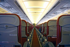 Interior of passenger aircraft. And seats Stock Photography
