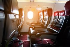 Interior of the passenger airplane. Interior of the passenger airplane Stock Photos