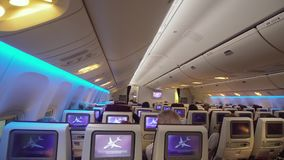 Interior Of The Passenger Airplane. Stock Footage