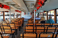 Interior of the passenger boat in Venice, Italy Royalty Free Stock Photography