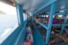 Interior of passenger ferry boat in Indonesia Royalty Free Stock Photo