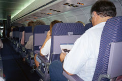Interior of passenger jet Stock Images