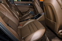 Interior passenger seat of full-size luxury car Porsche Panamera Turbo, 2016. Stock Images